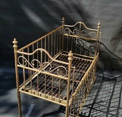 Antique Victorian Shabby Chic Brass Baby Doll Teddy Bear Crib Quilt Photo Prop