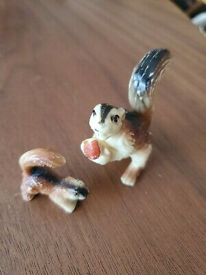 "2 Vintage Plastic Miniature Small 1-2"" Brown Black Forest Squirrel Figurines"