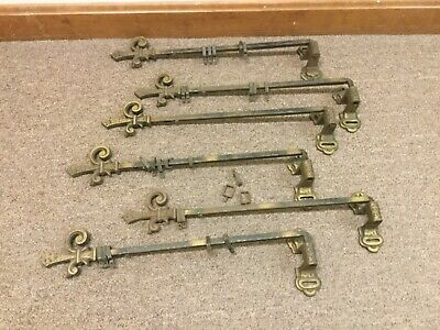 Great set 6 Victorian Swing Arm Curtain Holders Complete with Original Brackets