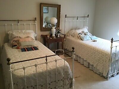 Pair of Antique Victorian Cast Iron Twin Beds - Great for Shabby Chic Decor