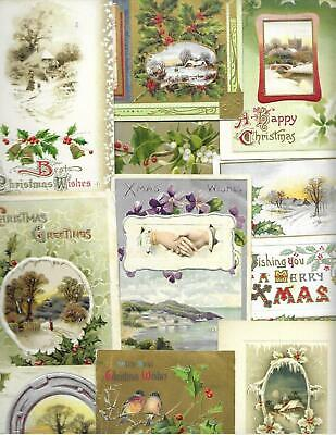 Lot Of 16 Beautifully Embossed Vintage CHRISTMAS Postcards-Nice Mix, Great Value