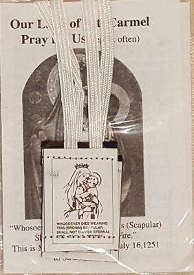 OUR LADY OF MOUNT CARMEL Wool HOLY BROWN SCAPULAR White Cord CATHOLIC BRAND NEW