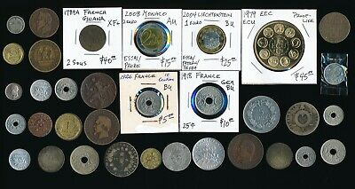 34 Old France & Ex-Colony Coins (Plenty Collectible) Must See > No Reserve