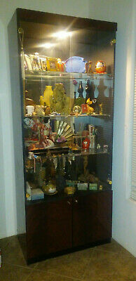 Lighted Curio Cabinet Display Case Glass Shelves Doors Mirrored Decor Storage