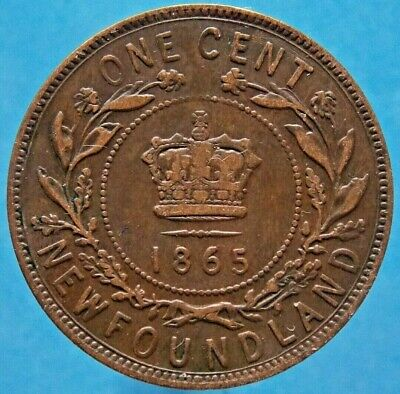 1865 Newfoundland Canada Canadian Large 1 Cent Victoria Coin
