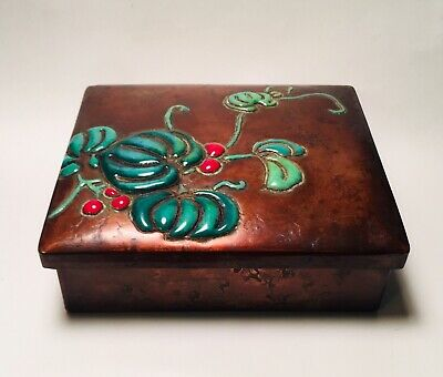 Antique Japanese Copper & Enamel Meiji Period Box Signed Ando Jubei c.1900