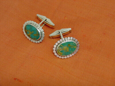 Lovely Vintage Handmade Cufflinks Sterling Silver & Turquoise Stones