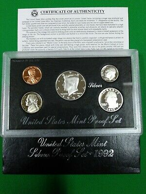 1992 S US Mint Silver Proof 5 Coin Set w/ Silver Kennedy Half Dollar Coin