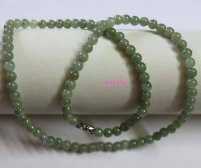 #05 100% Natural Grade A JADE Jadeite Untreated Oily Green Necklace 5.6mm 20""