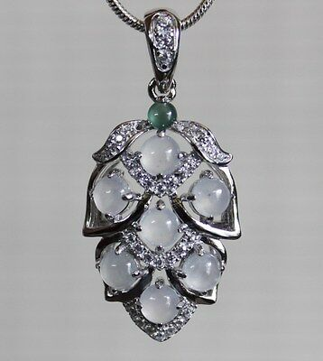 CERTIFIED Natural Jadeite (Grade A) Beautiful Icy JADE Leaf 925 Silver Pendant