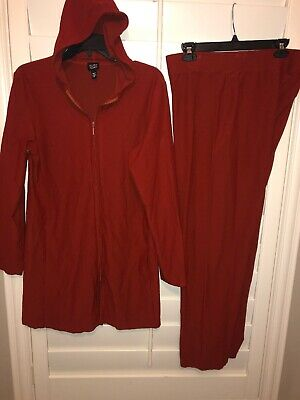 Eileen Fisher 2PC Tunic Jacket Hooded Stretch Viscose Blend W Pants Orange MED