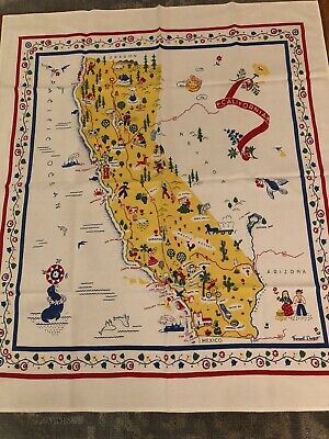 Vintage Margaret Newport California State Tablecloth