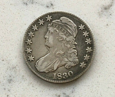 Antique 1830 Capped Bust Liberty Half Dollar 50 Cent Piece Us Silver Coin