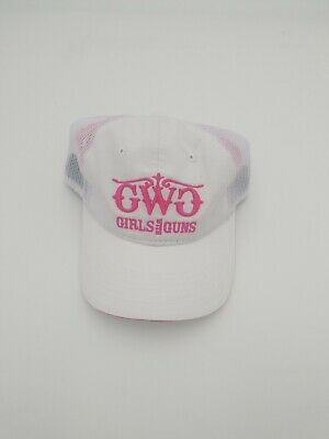 GIRLS With GUNS Ball Cap Hat trucker  Adjustable NEW with tags white pink