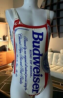 Vintage 80's Anhueser Busch Budweiser Beer One Piece Party Bathing Swim Suit