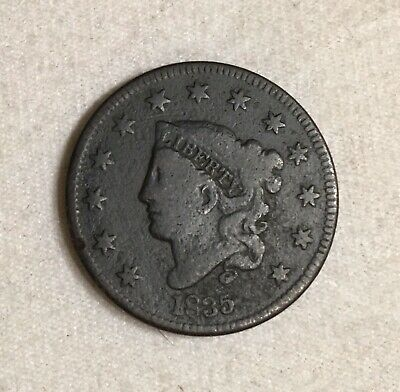 1835 Coronet Head One Cent Copper Large Penny Coin 1c US Coin Fine Condition