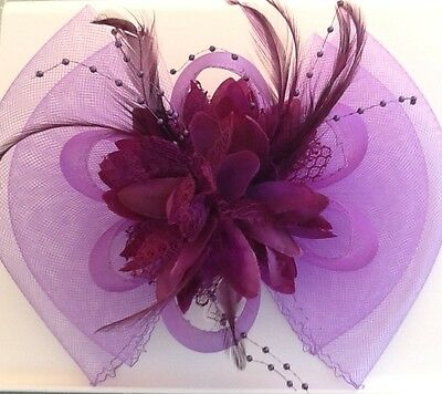 Brand New, Ladies Purple Feather Fascinator, Prom, Wedding, Mother of the Bride