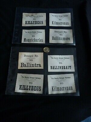 Antique County Donegal Railways luggage labels (x8) – Irish - Killybegs etc.