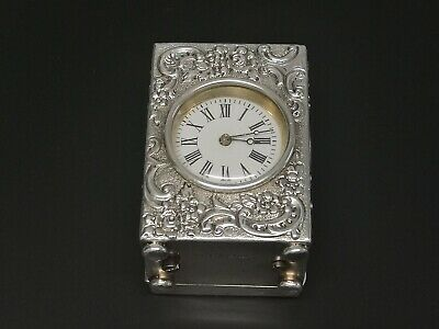 Antique Victorian Solid Silver Rococo Style Carriage Clock French 8 Day Movement