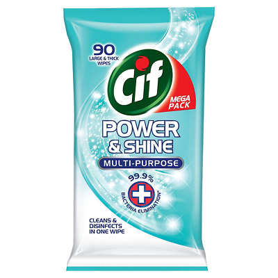 Cif Power & Shine Disinfectant Antibacterial Wipes, for Cleaning Kitchen & Bathr