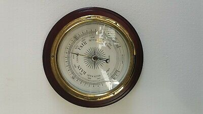 Vintage Retro Metamec Ships Style Barometer Made In England Wood And Brass