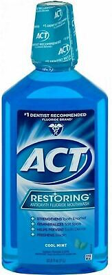 ACT Restoring AntiCavity Fluoride Mouthwash Cool Splash Mint 33.8oz ~ K14