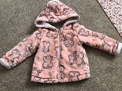 F&F Baby Girls Pink Owl Jacket/Cardigan 9-12 Months Great Condition