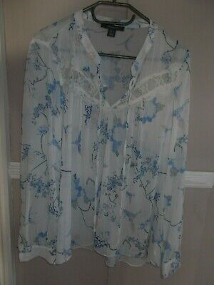 Women's Top size 14 by Primark White Floral Long Sleeve Sheer Loose