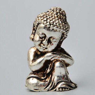 Collectable Old Miao Silver Hand-Carved Little Kwan-Yin Delicate Buddhism Statue