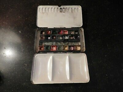 Old Vintage Reeves Watercolour paint Box No. 34