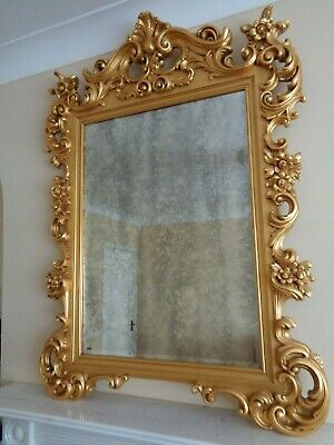A Large Ornate Gilt Wall Mirror Antique Style Gold French