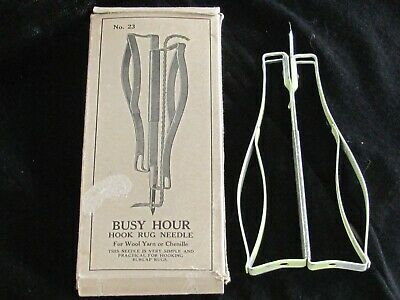 Vintage Busy Hour Hook Rug Needle No. 23 Molter Company