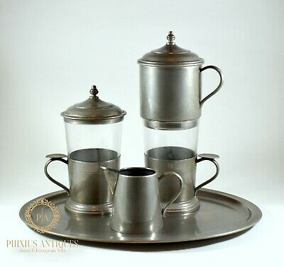 Rare & Unusual Vintage Pewter & Glass  Coffee Cafetiere Cups  Set
