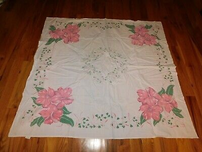 California Hand Prints Tablecloth Vintage Mid Century Pink Flowers w/ Heart Leaf