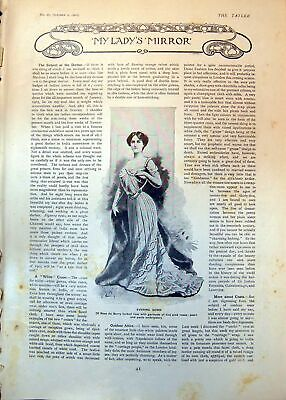 Antique Old Print Evening Gown Rose Du Barry Tucked Lisse Tea Gown East 1902
