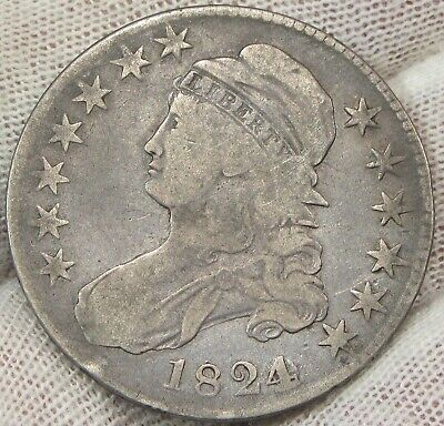 1824 50C Over Various Dates Capped Bust Silver Half Dollar    #021524