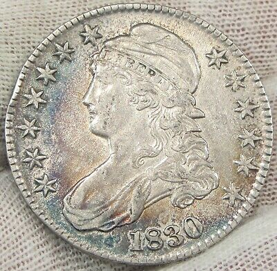 1830 Toned  Capped Bust Silver Half Dollar  50c   #021530
