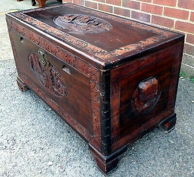 Chinese antique colonial solid carved camphor wood blanket box coffer trunk