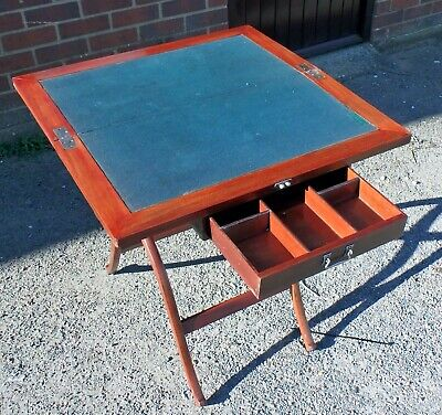 Edwardian antique military campaign coaching mahogany folding desk games table