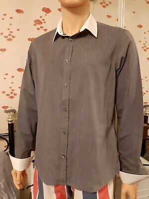 Gent Dress Shirt By River Island,large ,grey And White ,double cuffs,chest 44 in