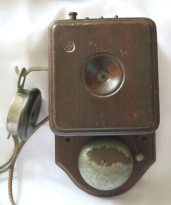 ANTIQUE circa 1916 WOODEN WALL MOUNTED TELEPHONE. GEC K7800 PEEL CONNER.