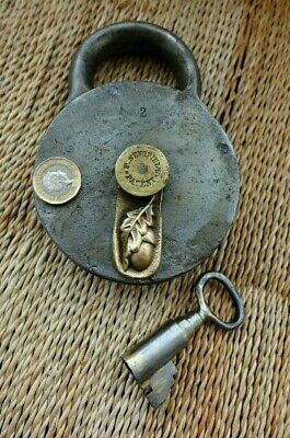 Antique XL Padlock with one key F.Sengpiel over 1kg working Made in Germany No.2