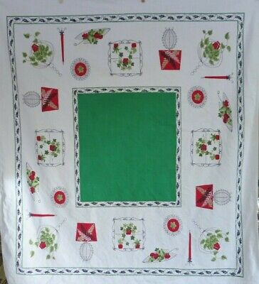 """Tablecloth 1950's Mid Century Modern Plants and Food w/green Cotton 43"""" x 48"""""""