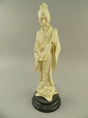 Rare Porcelain Statue of Asian Man holding Koi Fish on Stone Base Made in Italy
