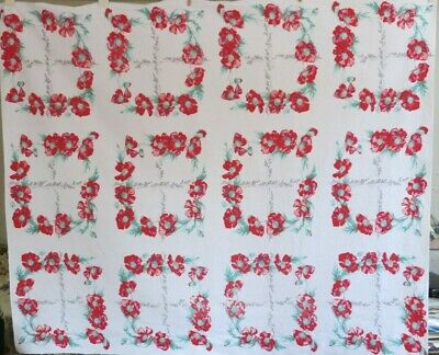 """Vintage 1950's Red Poppy Cotton Tablecloth 54"""" x 64"""" BEAUTIFUL CONDITION"""