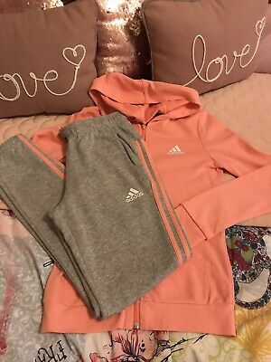 Girls Grey/Coral Tracksuit 11-12 Years