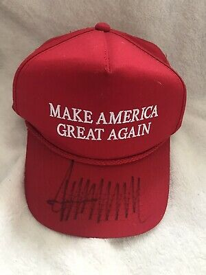 DONALD TRUMP Autographed 2016 Alabama Campaign Signed Red MAGA HAT EXACT PROOF!