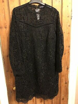 BNWT Marks And Spencer M&S Lace Black Shift Dress Size 14
