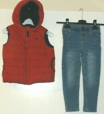 Boys Age 3-4 Years Red Gilet Hooded Bodywarmer Puffa Blue Zoo Skinny Jeans