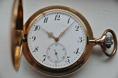 IWC International Watch Co ~ taschenuhr 14k gold savonette ~ 133 gram